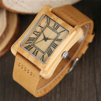 Square Dial Wooden Watch Bamboo Wirstwatch Bracelet Men Women Wood Watches Gifts