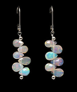 "Sterling Silver, AAA Welo Opal Briolette ""Step Ladder"" Leverback Earrings!"