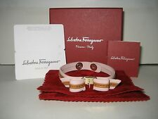$180 NEW Salvatore Ferragamo Vara Bow Goldtone Logo Pink Strap Leather Bracelet