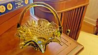 Vintage Fenton Olive Green Hobnail Ruffled Edge Glass Basket  FREE SHIP US
