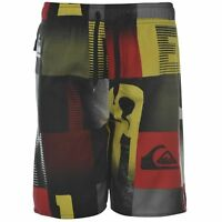 Quiksilver Boys Word Check Shorts Black/White/Yellow/red AGE 13 Years B423-12
