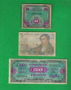 FRANCE FRANC , 10 1944 , 5 1943 , 50 1944 - 3 X BANKNOTES LOT # 4572 (*-*)
