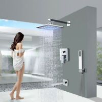 Shower Faucet Combo Set 8 Inch LED Rain Shower Head Handheld Shower Chrome
