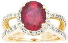 1 carat Oval Ruby w/ round Diamonds Engagement Wedding 14k Yellow Gold Ring