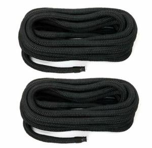 2PCS  3/8 Inch 15FT Double Braid Nylon Dockline,Mooring Rope  Braided nylon rope