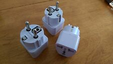 Lot of 3: EU UNIVERSAL TRAVEL ADAPTER PLUG / CONVERTER: UK, US, ASIA to EU