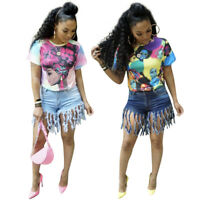 Summer New Women's Round Neck Short Sleeves Colorful Print Casaul T-shirt Tops