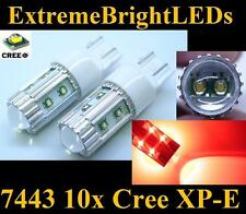 TWO Brilliant RED 50W High Power 10x Cree XP-E 7440 7443 LED Turn Signal Lights