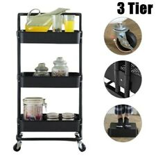 3 Tier Slim Kitchen Storage Trolley Cart Rack Shelf Fruit Basket Rolling Wheel