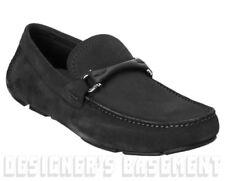 SALVATORE FERRAGAMO black 8EE suede GRANPRIX driving Moccasin shoes NIB Authentc