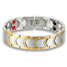 Mens Stainless Steel Therapeutic Energy Magnetic Therapy Bracelet + Box #B560