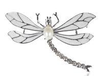 Enamel Wing Stylish Rhinestone Faux Pearl Dragonfly Fashion Pin Brooch Jewelry