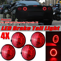 4X Red LED Tail Light Stop Brake Lamp Lens For 05-13 Chevrolet Corvette C6 Coupe