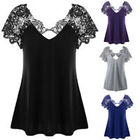Women Plus Size Lace Short Sleeve Casual Blouse Trim Cutwork T-Shirt V-Neck Tops