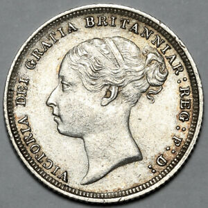 1887 QUEEN VICTORIA GREAT BRITAIN SILVER SIXPENCE SIX PENCE 6D COIN