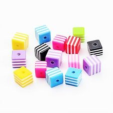 50 x Mixed Resin Striped Cube Beads 8mm