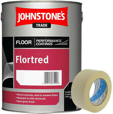 "Johnstone's Flortred Floor Paint Priness Grey 2.5L & Free 2"" Masking Tape"