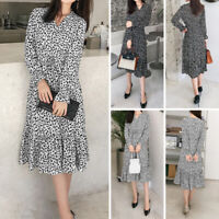Women Loose Long Sleeve V Neck Polka Dot Casual Party Vintage Dresses Midi Dress