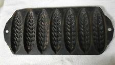 """Unbranded (Griswold or Wagner) wheat stick pan """"B  Cast Iron"""