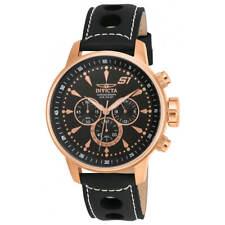 Invicta Men's Watch S1 Rally Chronograph Gold Tone Case Black Strap 16013
