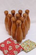 Set of 10 Vintage Antique Mini Wooden Bowling Ball Pins with Bean Bag Toss