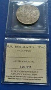 1890 GREAT BRITAIN Double Florin Silver Coin Queen Victoria ICCS VF-40