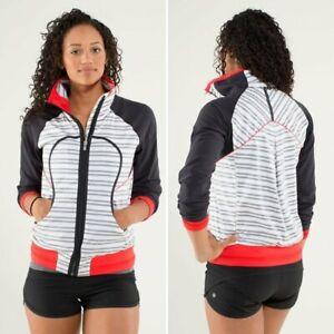 LULULEMON Run: Track Attack Jacket Thumbholes Twin Stripe/Black/Red Sz 4 $138
