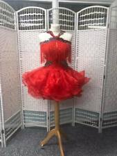 STUNNING RED STRAPPY FRINGED AND STONED LATIN DANCE DRESS (138)