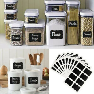 80 pcs Chalkboard Blackboard Stickers Decals Craft Kitchen Chalk Board Jar Label