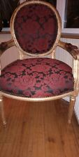 Armchair gold wood and rich red fabric seat