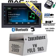 Autoradio für VW Polo 9N3 DAB 2-DIN NAVIGATION USB Bluetooth DAB+ Navi Einbauset