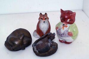 4pc Vtg Fox Figurine Lot Wood Porcelain Metal