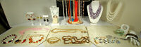 VTG COSTUME JEWELRY LOT 42pcs Shell Cameos Porcelain Rhinestones Mother of Pearl