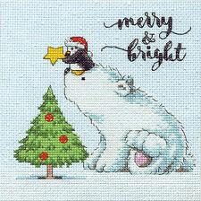 Cross Stitch Mini Kit ~ Dimensions Merry & Bright Bear w/Penguin #70-08990