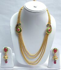 Indian Bollywood GoldPlated Ruby Emerald Rani Haar Necklace Earrings Set Jewelry
