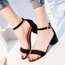 Womens Sandals Low Mid Heel Block Cuff Peep Toe Court Shoes Ankle Strap Sandals