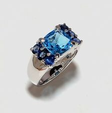 14 K Solid White Gold Blue Topaz & Sapphire Gem Stones Rings Men's Jewelry Us 9
