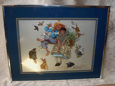 """NORMAN ROCKWELL""""MUSIC MASTER"""" BOY SERENADING GIRL W/ FLUTE FRAMED16X20 PICTURE"""