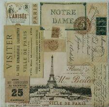 VILLE DE PARIS  2 individual LUNCH SIZE paper napkins for decoupage 3-ply