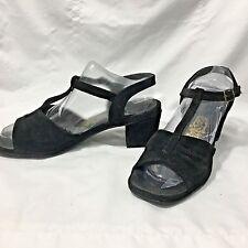 VTG Hush Puppies Black Suede T-strap Strap Sandals Rockabilly Pinup Size  6.5