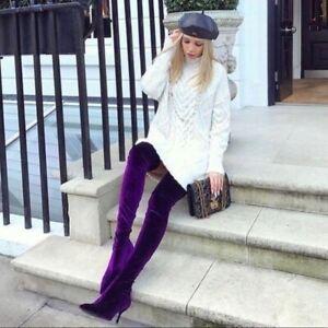 Zara Purple Velvet Over The Knee Boots size 40 Women's