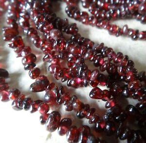 "vintage 60"" very LONG GARNET stone bead flapper necklace -N40"