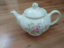 Vintage 2pt Teapot White Floral Spray Butterfly Gold Tilted Knob VGC