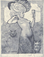 Ex libris. SWEET WINE by K. Antioukhin. Erotic. Nude. Original etching. Signed