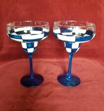 2 Hand Painted Margarita Glasses - Retro Blue White Checkered