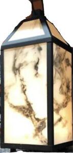 Outdoor Table Lamp LED Solar Lantern Metal Frame w Acrylic Marble Finish Shade