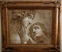 Classical Statue Michaelangello Davids' Oil Painting Gold Frame Signed W. Harris