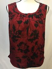 Talbots Women's Top Blouse Sleeveless Red and Black Floral Pullover Petite Small