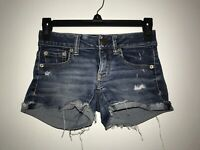 American Eagle Super Low Shortie Destroyed Super Stretch Dark Wash Shorts sz 00