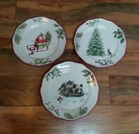Better Homes And Gardens Set of 3 Heritage Holly Christmas Salad Dessert Plates